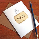 'Nice' Biscuit Retro Greetings Card