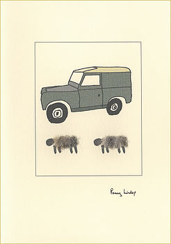 Land Rover and Sheep Card