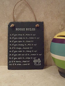Slate House And Toilet Rules - home accessories