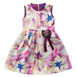 Girl's Lavender Tie Dye Floral Print Dress - view all sale items