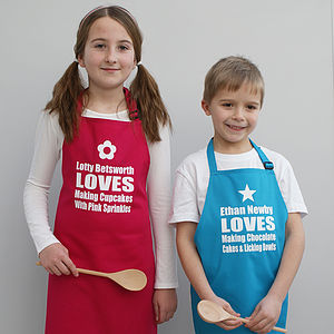 Personalised 'We Love Baking' Childrens Apron - children's cooking