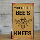 'bees knees' Vintage Metal Hanging Sign