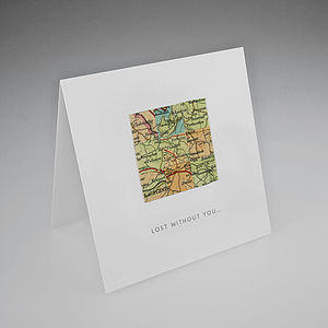 Lost Without You Map Collage Love Card - anniversary cards