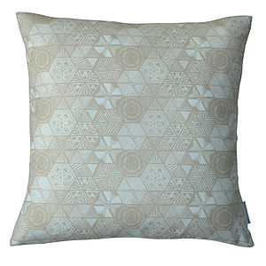 Hexie Doodle Cushion   Taupe - cushions