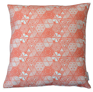 Hexie Doodle Cushion   Coral