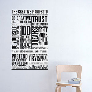 Creative Manifesto Wall Sticker - bedroom