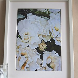 Fine Art Print Of White Wedding Flowers - posters & prints