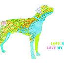 Personalised Ridgeback Map Dog Print