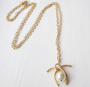 Wishbone Gold Necklace Made With Swarovski Pearl