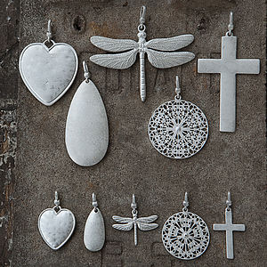 Large And Medium Charms, Light Antique Silver - necklaces & pendants