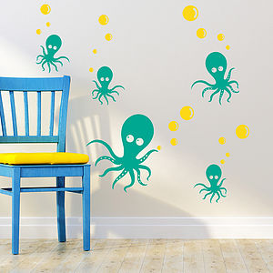 Octopus Family Wall Sticker Decals - bedroom