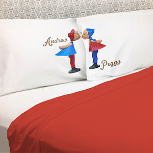 Personalised Couple Pillowcases Gift Kissing Dolls