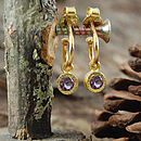 Gold Amethyst Birthstone Dot Hoop Earrings