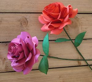 Single Stem Paper Rose - artificial flowers