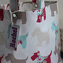 Doggie Oilcloth Lunch Bag With Name Tag