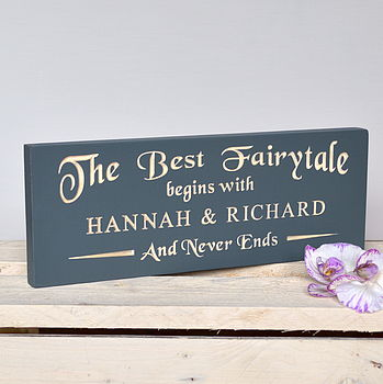 Engraved Fairytale Wedding Sign