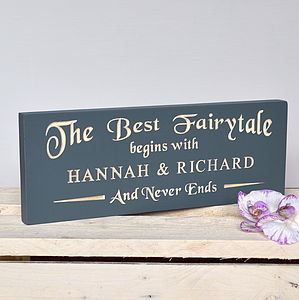 Engraved Fairytale Wedding Sign - outdoor decorations
