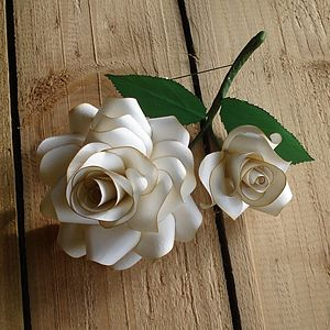 Paper Rose Corsage - button hole pins