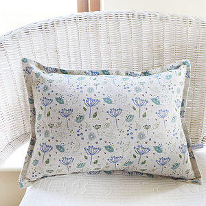 Oblong Blue Parsley Linen Cushion - living room