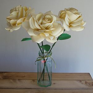 Large Single Stem Paper Rose - artificial flowers