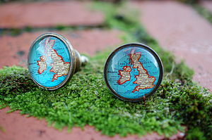 Set Of Two Map Of Britain Cupboard Knobs
