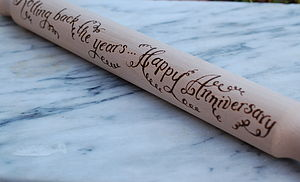 Anniversary Wooden Rolling Pin - 5th anniversary: wood