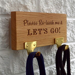 Engraved Two Hook Dog Lead Hanger - stylish pet accessories for the home