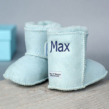 Personalised Blue Sheepskin Booties