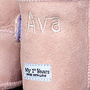Personalised Pink Sheepskin Booties