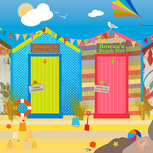 Personalised Beach Huts - wall hangings for children