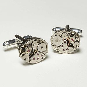 Vintage Watch Movement Cufflinks Oval - gifts for him sale