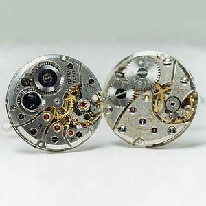 Vintage Watch Movement Cufflinks Round