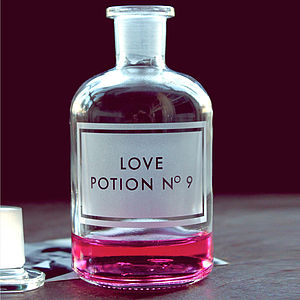 Etched 'Love Potion No9' Apothecary Bottle - valentine's gifts for her
