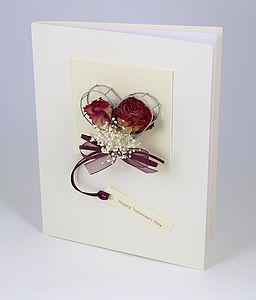 Personalised Real Roses 3 D Greetings Card - wedding cards