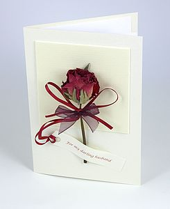 Real Rose 3 D Greetings Card