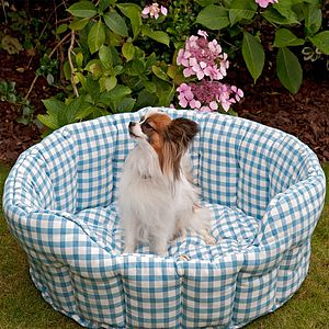Gingham Pet Bed - beds & sleeping