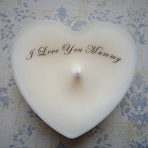Personalised 'I Love You Mummy' Heart Candle - lighting