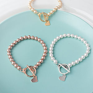 Pearl And Heart Bracelet Made With Swarovski Crystals - bracelets & bangles