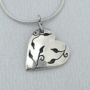 Leaves Design Silver Heart Pendant