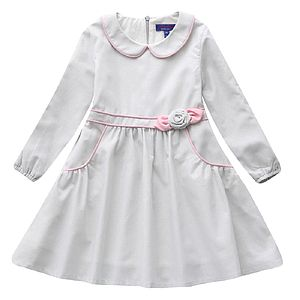Linen Blend Flower Pink Trim Detail Dress - baby & child