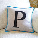 Turquoise Edged Colour Flash Monogrammed Cushion