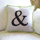 Lime Green Edged Colour Flash Monogrammed Cushion