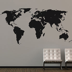 Large World Map Wall Sticker - decorative accessories