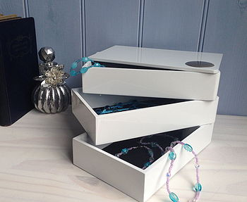Jewellery And Memory Box Triple Layer In Gloss White