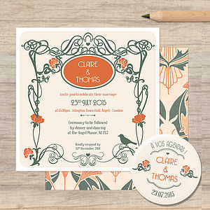 Art Nouveau Wedding Stationery - invitations