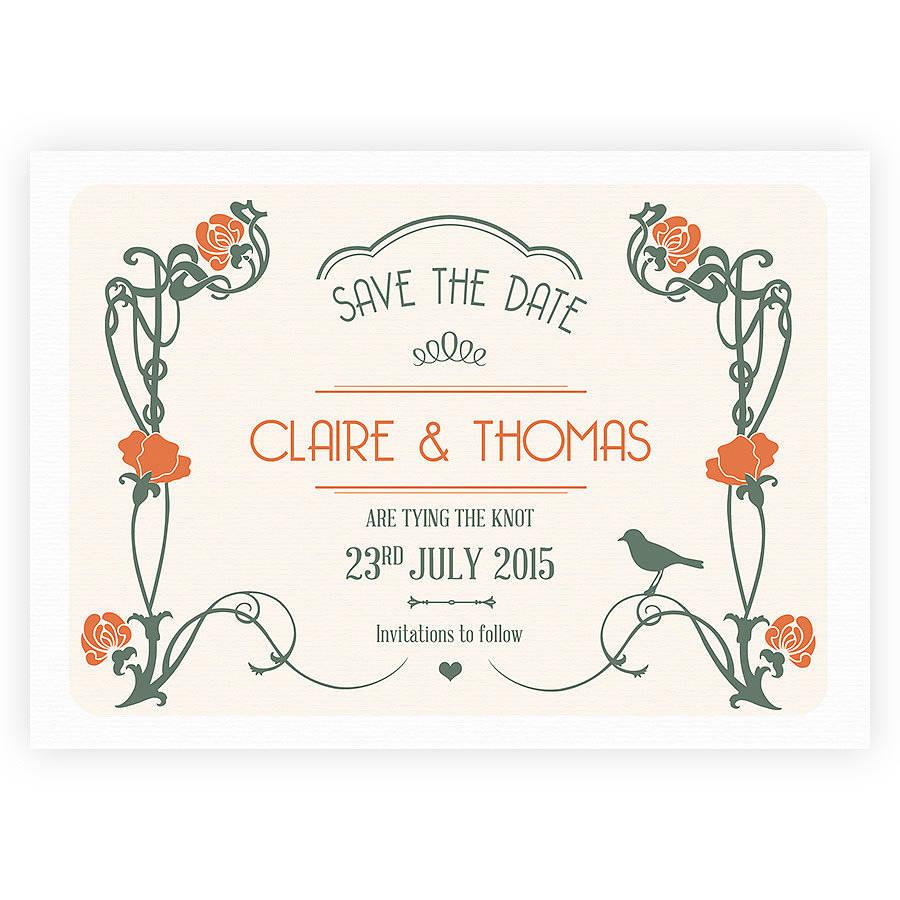 art nouveau wedding stationery by pepper joy – Art Deco Wedding Invitations Uk