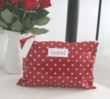 Personalised Red Spot Cosmetic Bag