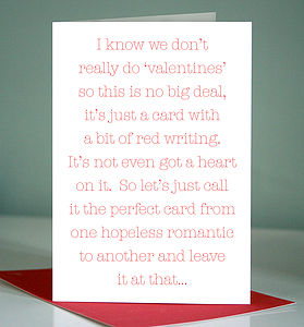 Hopeless Romantic Card - sentimental cards