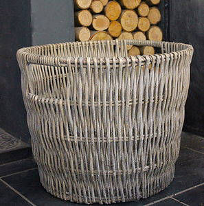 Round Washed Wicker Log Basket - office & study