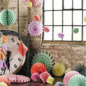 Set Of Three Honeycomb Hanging Decorations - silk & paper flowers